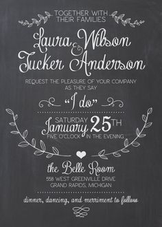 Wedding Invitation Suite Chalkboard Printable by SplashOfSilver
