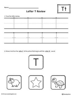 Letter T Review Worksheet Worksheet.Use the Letter T Review worksheet to help your student practice tracing and identifying the beginning sound of the letter T.