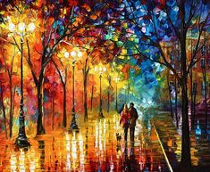 Contemporary landscape art work of a couple strolling down a city street at night with street lights illuminating wet pavement and trees like stained glass windows. Night Fantasy Wall Art by Leonid Afremov from Great BIG Canvas. Night Painting, Oil Painting On Canvas, Modern Oil Painting, Painting, Contemporary Landscapes Art, Painting Prints, Fantasy Wall Art, Canvas Painting, Landscape Art