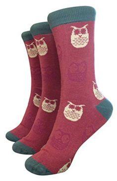 BrainTree - Super Soft Bamboo Socks - Dark Blush Owlet Socks - Pack of 3 Pairs