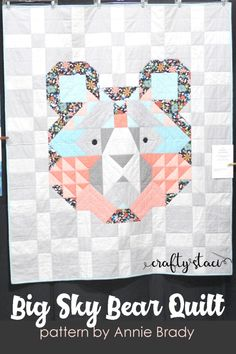 Big Sky Bear Quilt on Crafty Staci Owl Quilts, Animal Quilts, Baby Quilts, Baby Quilt Patterns, Modern Quilt Patterns, Owl Quilt Pattern, Owl Patterns, Quilting Patterns, Hand Quilting