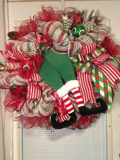Elf wreath, Christmas wreath, Elf decor, Holiday wreath, Christmas party, Holiday decor, Holiday party, Christmas decor by DecoWreathBoutique on Etsy