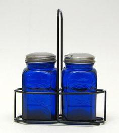 My Cobalt Blue Depression Glass Salt & Pepper Shakers, with holder. -L