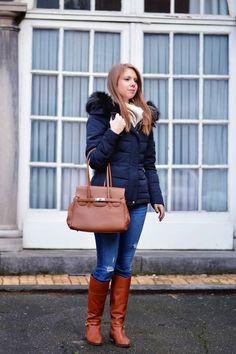 Zara Marine Blue Down Feather Coat, Hollister Medium Wash Ripped Denim, Scapa Camel Boots and Camel Tote Bag - Window On My Wardrobe Blog