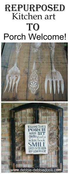 repurposed kitchen art to porch welcome sign