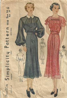 Simplicity 1938 Vintage 30s Sewing Pattern Dress Size 16