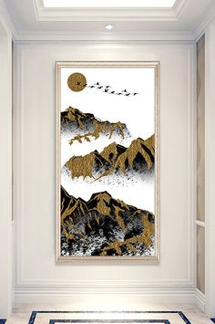 art and simple minimalist ancient mountains and rivers porch decorative painting Wedding Stage Design, Modern Oil Painting, Chinese Landscape, New Chinese, Flower Bird, Art Model, Sign Design, Rivers, Modern Art