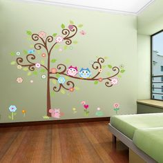 kids wall decal-kids tree decal-owl decals for kids,