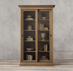 Restoration Hardware 20th C. English Slider Glass Double-Door Cabinet