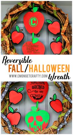Transform between seasons with ease. Try making this easy reversible fall and Halloween wreath to keep your decor changes simple! Diy Craft Projects, Diy And Crafts, Crafts For Kids, Fall Halloween, Halloween Crafts, Halloween Ideas, Types Of Craft, Pinterest Diy, Holiday Activities