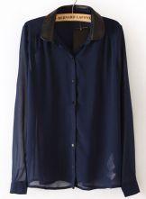 Blue Long Sleeve Contrast Collar Chiffon Blouse