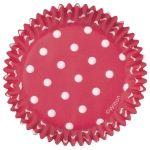 Piros fehér pöttyös színű cupcake kapszlik / 75 db-os/