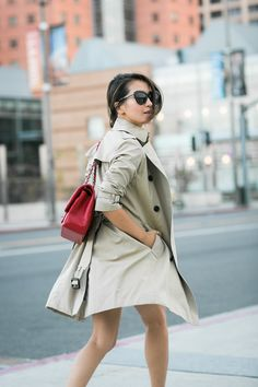 Simple Autumn :: Trench coat & Flute skirt :: Outfit :: Top :: Burberry trench , Ann Taylor top Bottom :: Forever 21 Bag :: Chanel Shoes :: Christian Louboutin Accessories :: Karen Walker sunglasses, Jennifer Zeuner necklace, OPI 'Candy Apple Red' polish Published: October 13, 2014