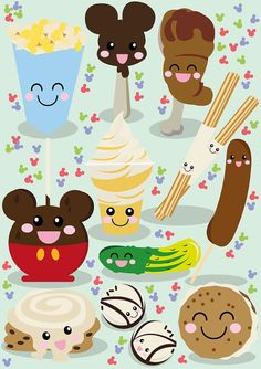 Disney inspired Kawaii Snacks Illustration by Philhowelldesign