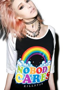 Kill Star Nobody Cares Raglan Top
