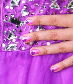 Pink and purple triangle mani