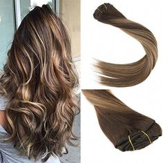 Clip-in Full Head Efficient Full Shine Brown Ombre Color Straight Clip In Hair Extensions 7pcs Color #6 Fading To 613 Blonde Double Weft 100g Remy Clip Ins Latest Fashion