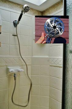 Our RV shower upgrade. New Oxygenics model Fury RV - http://www.loveyourrv.com/summer-rv-interior-renovation-project-part-three/