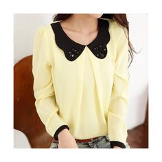 Sweet Style Peter Pan Collar Beading Spliced Chiffon Long Sleeve... ($13) ❤ liked on Polyvore featuring tops, blouses, peter pan top, long sleeve peter pan collar blouse, peter pan blouse, long sleeve chiffon top and beaded blouse