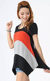 Contraste des couleurs T-shirt col rond de Danfeier femmes