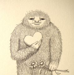Bigfoot Sasquatch Ink Drawing Love Illustration Print Black and White Ivory Cream Heart Flowers Funny Wierd 4x6 Rustic Home Wall Decor MiKa