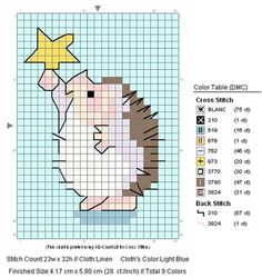 free cross stitch hedgehog with star (. - free cross stitch hedgehog with star (….cr…very small but cute…similar to Penny Black's hed - Hedgehog Cross Stitch, Tiny Cross Stitch, Cross Stitch For Kids, Cross Stitch Cards, Cross Stitch Borders, Cross Stitch Animals, Cross Stitch Designs, Cross Stitching, Cross Stitch Embroidery