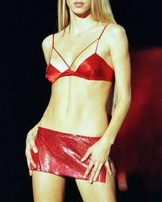 Victoria's Secret 1999 Carmen Kass Red lingerie skirt bralette bra top mini skirt Carmen Kass, Virgo, Bikinis, Swimwear, Victoria, Mini, Inspiration, Instagram, Style