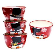 Certified International Top Hat Snowman Ice Cream Bowls - Set of 4