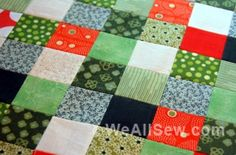 WeAllSew « http://weallsew.com - how to sew small squares using iron-on interfacing as an inter-lining and grid