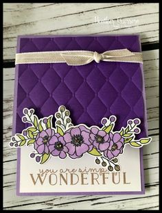 Bloom & Grow in Purple! by HeatherGuerrero - Cards and Paper Crafts at Splitcoaststampers Fancy Fold Cards, Folded Cards, Purple Cards, Wink Of Stella, Embossed Cards, Stamping Up Cards, Cool Cards, Homemade Cards, Making Ideas