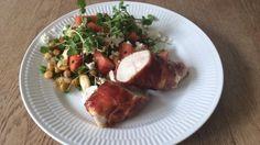 Mandag 23/6: Kylling i parmaskinke med kikærter og vandmelonsalat