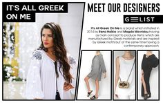 """This is """"It's All Greek Οn Me""""! The Greek Brand draws inspiration directly from the Greek history! They use native materials, still manufactured in Greece, like canvas, burlap, felt, leather, silk with techniques that have flourished for many years in local tradition, like embroider and handwoven fabrics. The motifs adorning their products are all inspired from the traditional art, the ancient Greek world and the Greek architecture making every woman feel like a modern Greek goddess! Greek History, Ancient Greek, Traditional Art, Hand Weaving, Greece, Burlap, Art Pieces, Fabrics, Designers"""