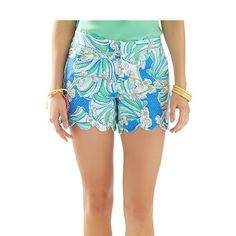 "Lilly Pulitzer 5"" Buttercup Scallop Hem Short in Bay Blue Coasting"