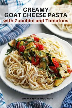 Creamy Goat Cheese Pasta -Zucchini and tomatoes bring fresh summertime flavour to this quick and easy pasta recipe. #yayforfood | #pasta | #quickrecipe | #summerrecipes | #zucchini | #tomatoes | #easyrecipes | #recipeoftheday | #goatcheese | #vegetarianrecipes | #maincourse | #dinnerrecipes | #lunch