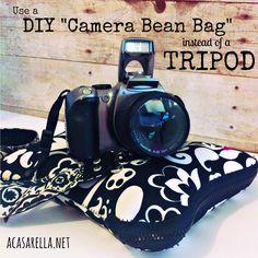 This DIY Camera Bean Bag serves as an alternative to your tripod... @ acasarella.net  #photography