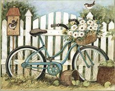 bicycle by picket fence with bird Bicycle Painting, Bicycle Art, Bicycle Design, Decoupage Vintage, Bicycle Pictures, 2015 Wallpaper, Desktop Wallpapers, Country Paintings, Jolie Photo