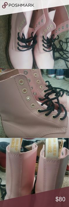 Pink Dr. Martens Barely used, no scratches or blemishes. Like new! My reason for getting rid of them is because I grew out of the color and that college student poverty haha. Dr. Martens Shoes Ankle Boots & Booties
