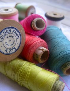 Reels of coloured cotton