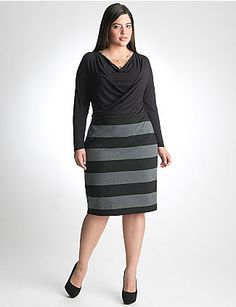 A stylish choice for day or night, our striped dress flatters your curves with a draped neck, faux wrap front and long sleeves. Easy-wear, easy-care ponte knit resists wrinkles, fading and pilling, plus it is machine washable - what's not to love? lanebryant.com