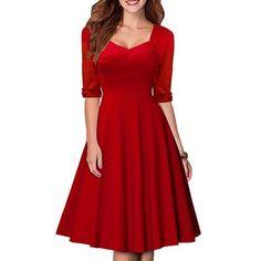 Womens's Vintage Pure Color Sweetheart Neck 1/2 Sleeve Dress (RED,S) in Vintage Dresses   DressLily.com
