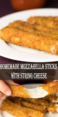 These easy cheese sticks are the best appetizer ever. Serve them alongside some marinara sauce for mozzarella sticks that everyone will devour! Homemade Cheese Sticks, Fried Cheese Sticks, Cheese Sticks Recipe, Homemade Mozzarella Sticks, Mozzarella Cheese Sticks, Air Fryer Recipes Mozzarella Sticks, Mozza Sticks, String Cheese Sticks, Mozzerella