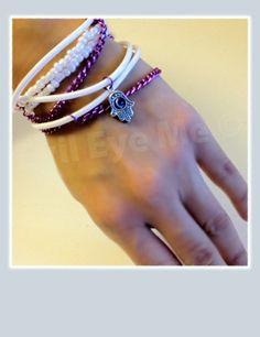 WhitePurple Khamsa Bracelet by EvilEyeMe on Etsy, $19.99