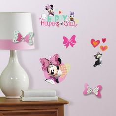 Make a fashion statement on the wall with Minnie Mouse Happy Helpers Wall Decals With 3D Embelleshments by RoomMates Decor.