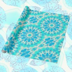 Blue Ice Goddess, Abstract Crystals of Love Mandala | Wrapping Paper #DianeClancy