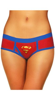 This cute red panty features a blue waistband, the Superman logo, piping details, and a cheeky cut back. Superman Boyshort Panty, Red and Blue Panty, Superman Panty #panties #boyshorts #officiallylicensed