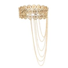 <P>Add this interesting piece of jewelry to your arm. Pretty flowers with edgy gold chain fringe.</P><UL><LI>Gold-tone finish<LI>Arm cuff<LI>Stretch fit</LI></UL>