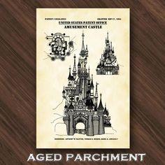 Disney World Princess Castle Patent Print Disneyland Castle | Etsy Cinderella Castle, Princess Castle, Disney World Princess, Technical Artist, Jeep Gifts, Disneyland Castle, Walt Disney Co, Patent Drawing, Playroom Decor