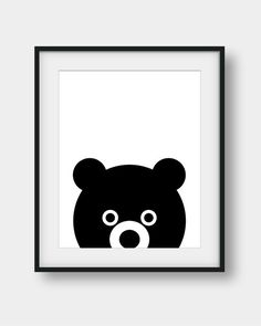 50% OFF Baby Bear Print Kids Room Decor Black von AenaonArtWork