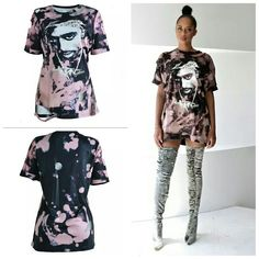 """""""Long Live Pac"""" Destroyed Bleached Oversized T Shirt Dress - DGCouture - 1 Long White T Shirt, Oversized White T Shirt, Custom Clothes, Diy Clothes, Destroyed T Shirt, Dope Shirt, Bleach Shirts, T Shirt Diy, Womens Fashion Online"""