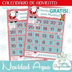 Calendario de adviento para imprimir gratis